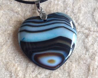 Multi Color Heart Shaped Pendant Necklace - Coffee Green Agate Pendant Necklace - Blue Green Heart Pendant Necklace - Cream White Pendant