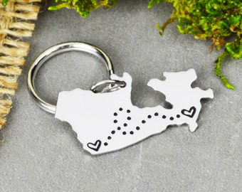 Canada Keychain or Necklace - Best Friend Gift - Couples Gift - Long Distance Love