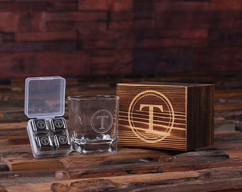 Personalized Whiskey Scotch Glass Set, Stainless Steel Ice-Cubes Sipping Stones, Wood Box Gift for Men, Groomsmen, Father's and Dad (025247)