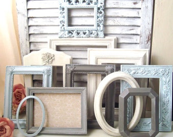 Blue Vintage Frame Set  Beach Cottage Ornate Frames  Vintage Frame Gallery  Light Blue White  Gray  MADE to ORDER Coastal Picture Frames