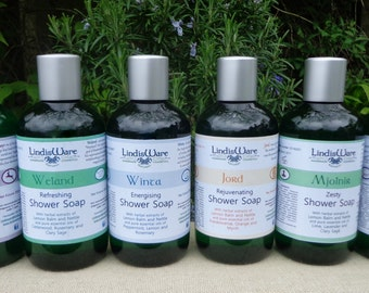 Natural, liquid soap, body wash, shower gel, 250ml, plant oils and essential oils, Free P&P