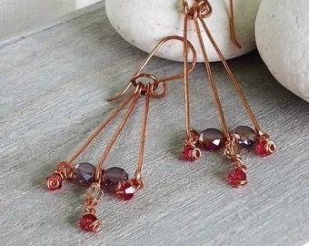 Copper hearrings and pendant beads pink and violet
