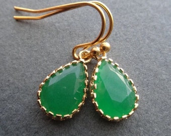 Green Onyx Earrings /Earrings /Palace Green Opal Earrings /Green Emerald Bridesmaid Earrings