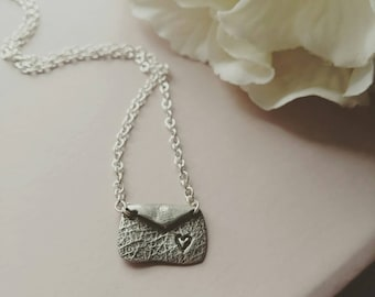 Small silver love letter necklace