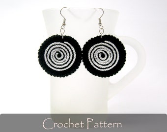 CROCHET PATTERN - Twirl Crochet Earrings Pattern Circle Earrings Fabric Pattern Jewelry Crochet Jewelry PDF - P0016