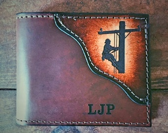 LINEMAN wallet, Classic BI FOLD is shown, Father's day gift, lineman gifts, wallet with a lineman, line man,  Initials Engraved Free!