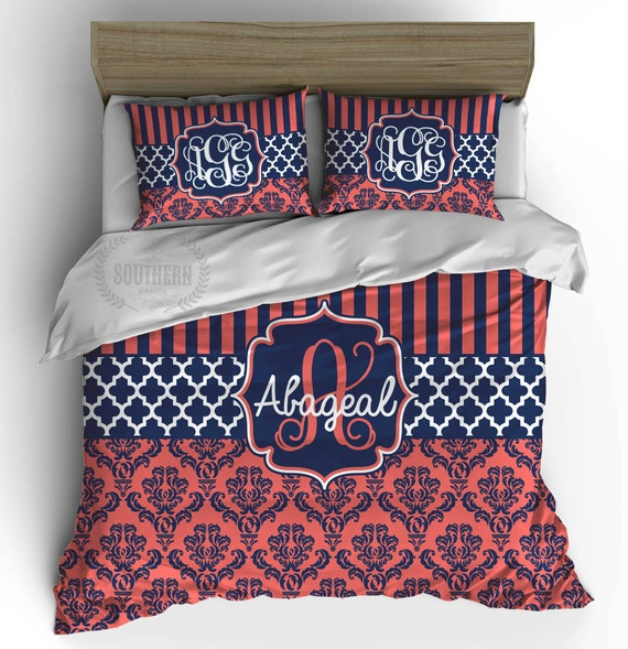 Personalized Bedding Navy Coral Damask Comforter Or Duvet