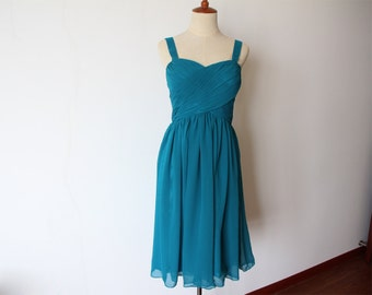 Free Shipping Dark Teal Short Bridesmaid Dress with Straps Knee-length Dark Teal Chiffon Bridesmaid Dress Ready to Ship