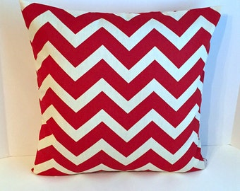 18 x 18 Red and White Chevron Envelope Style Pillow Cover