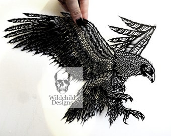 Flying Golden Eagle Paper Cutting Template for Personal or Commercial Use Gothic Papercut Cut by Wildchild Designs Spirit Guide Bird of Prey