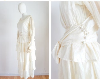 40% OFF SALE 1910s 1920s wedding dress / antique vintage / size xs small / Love Everlasting Dress