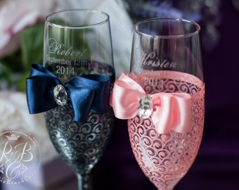 Navy blue & pink, champagne flutes, lace, gift ideas, crystals, wedding toasting glasses, personalized set, classic, bride and groom, 2pcs