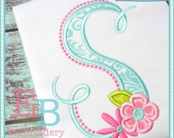 Bella Fleur Applique Alphabet - This design is to be used on an embroidery machine. Instant Download 4x4, 5x7,9x9