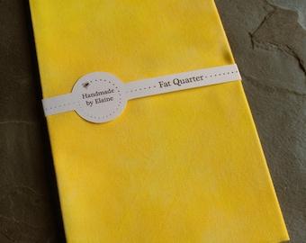 FPrimrose Yellow Fat Quarter - Hand Dyed Fabric, Pastel Muted Mellow Lemon Sunshine Custard Banana Corn Straw Yellow Quilting Cotton, 3023