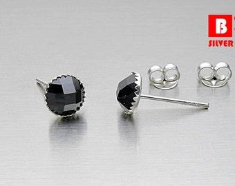 925 Sterling Silver Earrings, Black Round Earrings, Stud Earrings (Code : K22D)