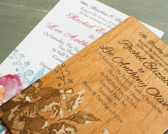 Engraved Wedding Invitation Keepsake, Wood Wedding Invitation, Wedding Gift, Wedding Keepsake, Wedding Gift Idea, Anniversary Gift