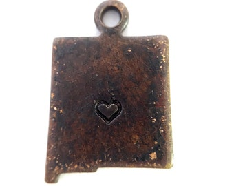 2x Antique Brass / Brown Patina New Mexico State Charms w/ Hearts - M073/H/AB-NM