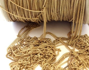5ft Vintage Yellow Brass Curb Chain - C036