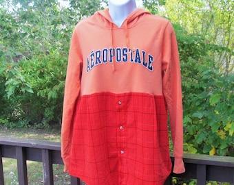 Upcycled Hoodie, Orange Corduroy Hoodie, OOAK Aeropostale Hoodie, Fall Fashion, Womens Upcycled Tunic, Womens Size Medium to Large