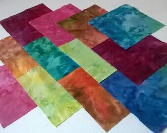 """30 x 5"""" Patchwork CHARM squares 100% Cotton Batik Tie Dye Fabric Quilting Crafts"""
