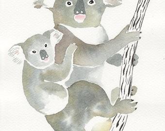 "MOM and BABY KOALA Original watercolor and ink painting- illustration 7"" x 9,8"" - nursery decor- wall art- animal art"