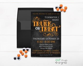 Printable Trunk or Treat Invitations and Poster - Ward Party Invitations - Halloween Party Invitation - Trunk or Treat - Halloween Printable
