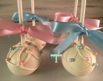 Gender reveal, baby shower cake pops