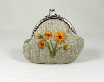 Embroidered floral coin purse,  embroidered kisslock purse, linen purse, hand embroidered pouch, orange floral pouch,
