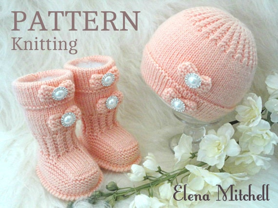 Knitting Pattern Baby Hat And Booties : Knitting PATTERN Baby Shoes Baby Booties Baby Hat Baby Beanie