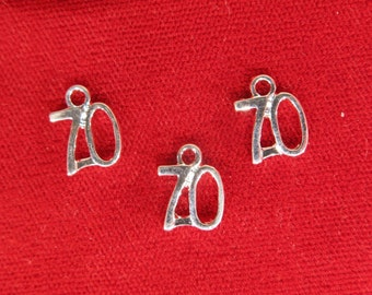 "BULK! 30pc ""number 70"" charms in silver style (BC1077B)"