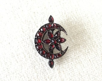 SALE Victorian Bohemian Garnet Moon Flower Brooch