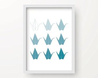8x10 Teal Ombre Digital Origami Cranes Wall Art