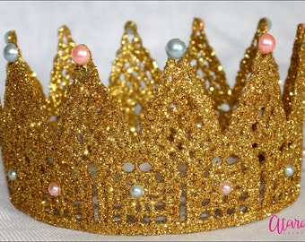 Gender reveal Lace Crown / Gold Lace crown /   Lace Crown Newborn / Photo Prop / Cake topper / Photography Prop / MADE IN USA.