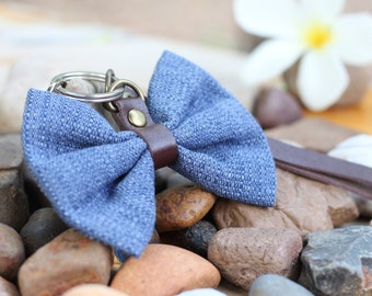 fabric bow and leather keychain