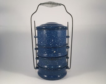Vintage Blue Speckled Enamelware Stackable Lunch Pail