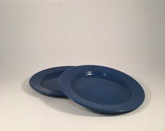 Vintage Blue Speckled Enamelware Camping Plates Set of 2