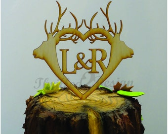 6 inch Double Deer Antler with Monogram CAKE TOPPER - Celebrate, Party, Cake Decoration, Camo, Hunting