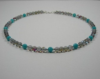 Smokey Prism Bead with Apatite Bead and Silver Bead Necklace