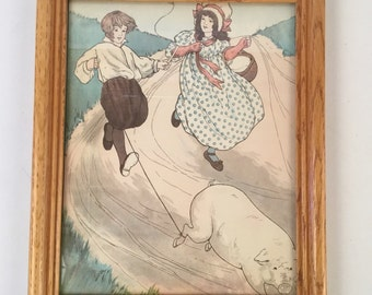 Vintage Nursery Rhyme Framed Print of To Market to Buy a Fat Pig - Old Fashioned Dress Young Girl and Boy Running on a Hill - Mother Goose