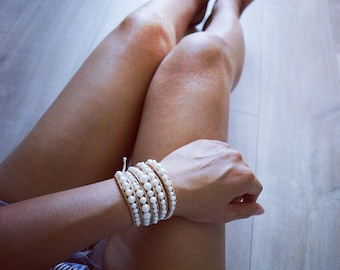 4 Wrapped Bracelet with White Freshwater Pearl
