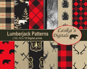 "Lumberjack rustic forest background: ""LUMBERJACK DIGITAL PAPER"" Digital Scrapbook Paper for forest lovers, plaid, deer, woods, bear, axe"