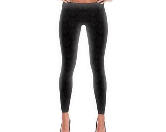 All over printed cat skull black leggings, skull leggings, cat leggings, halloween leggings, silky soft leggings, Made in USA