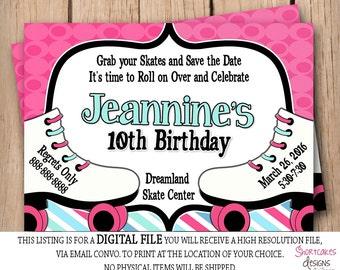 Skating Birthday Party invitation - Rolling Skate -  Girl Twins Skating Party - Printable - Pink & Blue