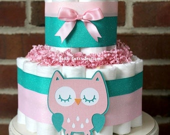 2 Tier Pink and Teal Owl Diaper Cake, Girls Owl Baby Shower, Pink and Teal Owl Baby Shower Decor, Woodland Owl Shower Diaper Cake, Baby Girl