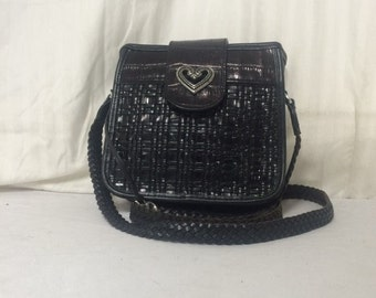 Brighton,leather bag, black, leather, bag, purse,shoulder bag, leather purse, heart charm, purses ,bags