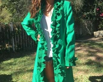 Long green ruffled coat, formal coat, size 10
