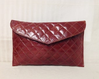 """Quilted leather clutch Purse, Large Clutch, W 12"""" x H 8"""" x Depth 0.5"""",bags,purse,Red leather"""