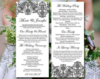 "Vintage Wedding Program Template - Lace Wedding Program ""Chantilly"" Black Printable Tea Length Program DIY Wedding Template Order of Service"
