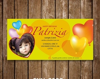 INV-C003 - Birthday Party Invitation, Printable, customized with photo and little Girl or Boy