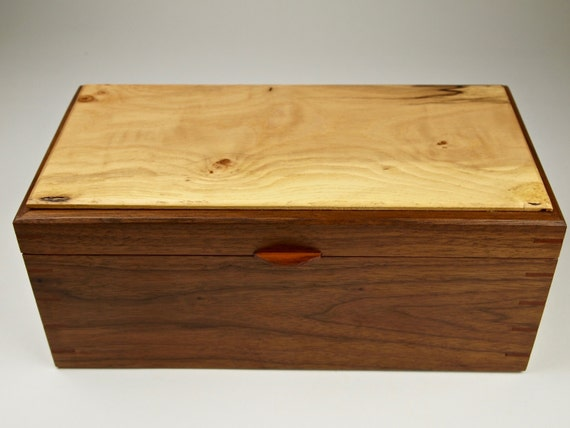 solid wood jewelry box with trays and brass hinges